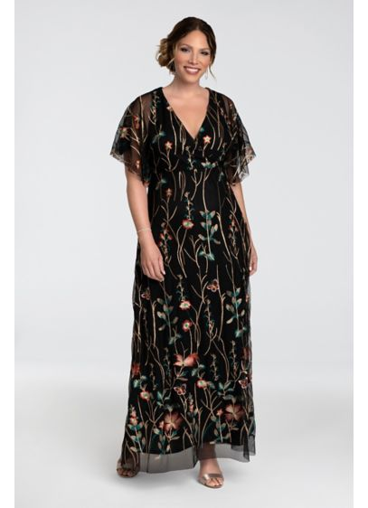Embroidered Elegance Plus Size Floral Evening Gown - This dreamy plus-size embroidered mesh dress features lush