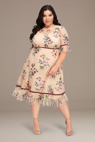 Short 3/4 Sleeves Dress - Kiyonna