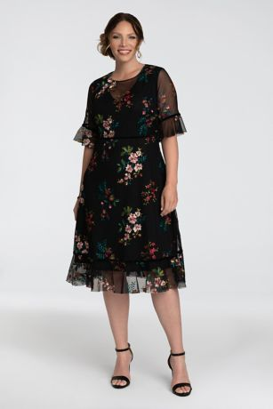 Short 3/4 Sleeves Dress - Kiyonna