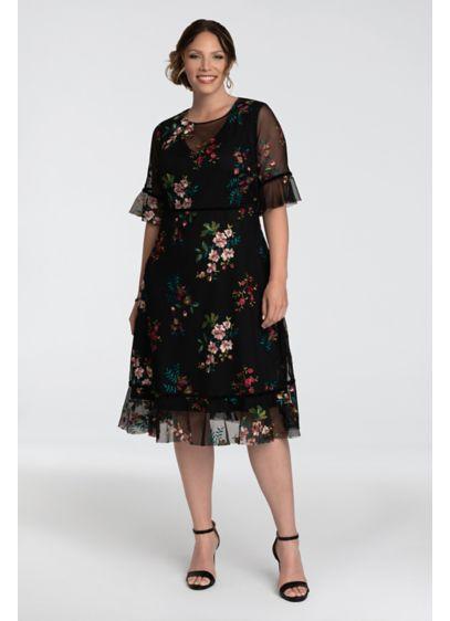 Short 0 3/4 Sleeves Cocktail and Party Dress - Kiyonna
