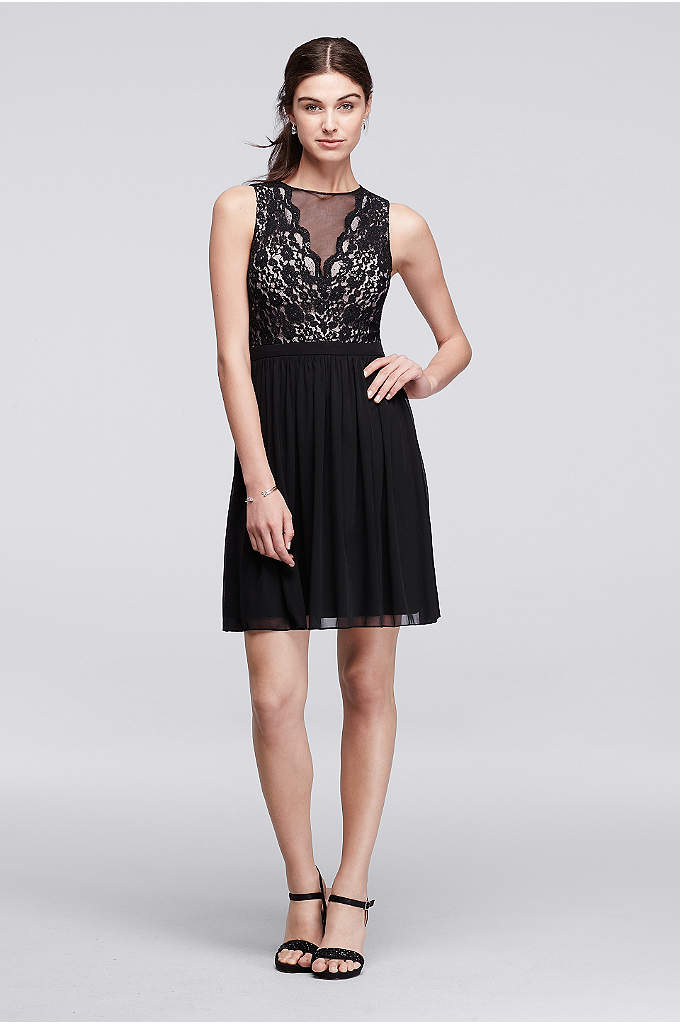 Sleeveless Short Dress with Illusion Lace Neckline