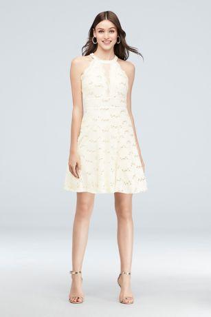 Short Halter Homecoming Dress With Illusion Inset David S Bridal