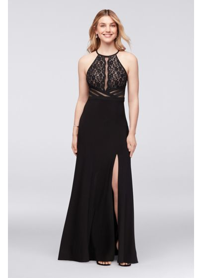 Jersey Halter Dress with Sheer Mesh Back | David's Bridal