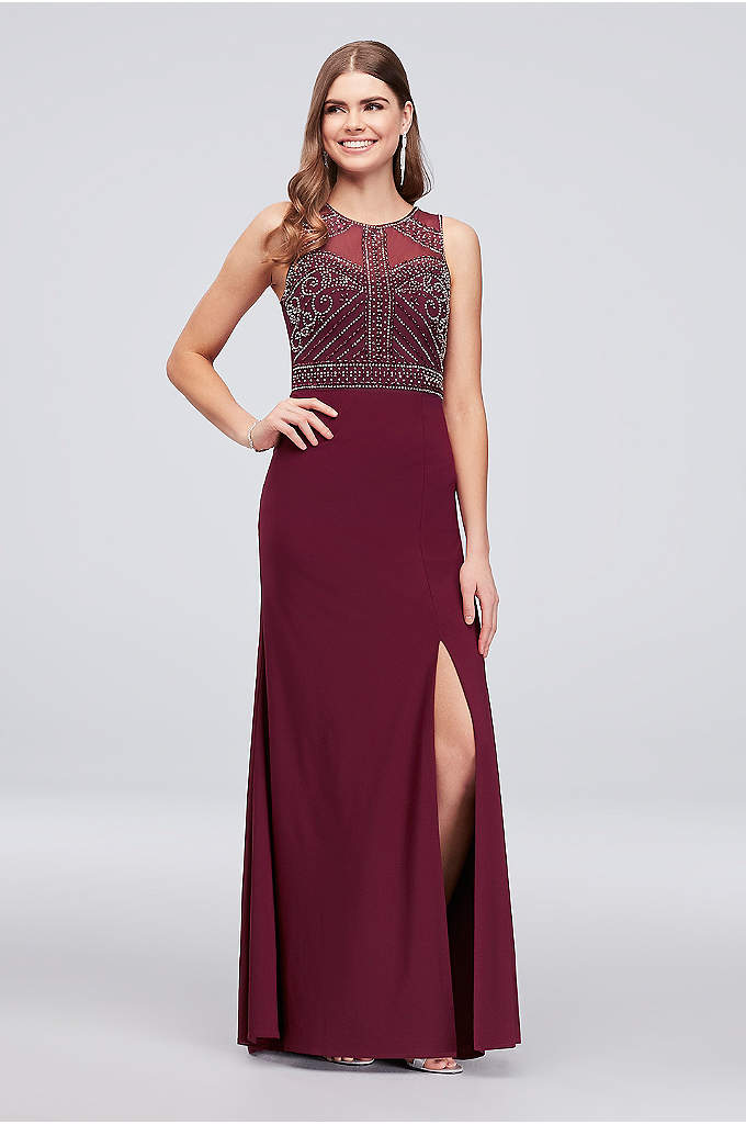 Beaded Jersey Tank Dress with Illusion Back - Intricate metallic beadwork adorns the bodice of this