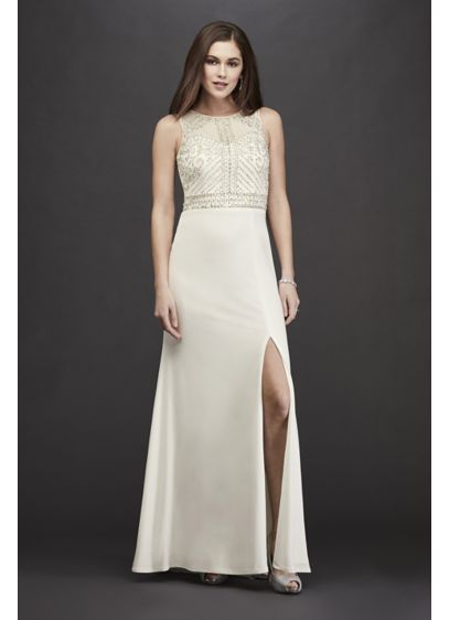 Jersey Sheath High-Neck Wedding Dress with Beading - Stunning and chicly comfortable, this high-neck sheath wedding