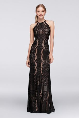 Graphic Lace Halter Dress With Keyhole Back David S Bridal