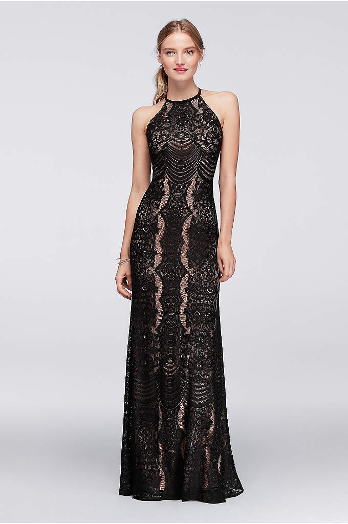Graphic Lace Halter Dress with Keyhole Back