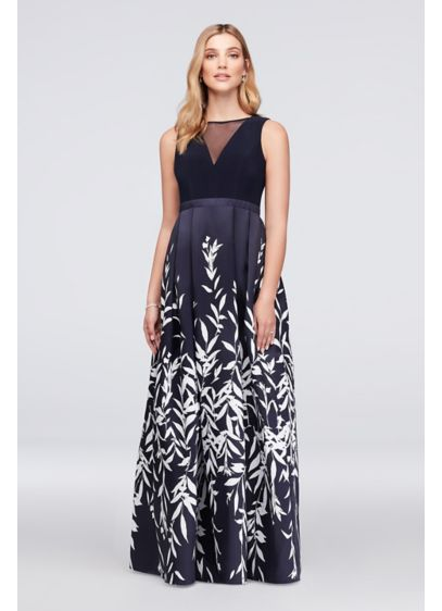 Illusion Plunge Leaf-Print Mikado Ball Gown - Crisp white fronds grow lush across the pleated