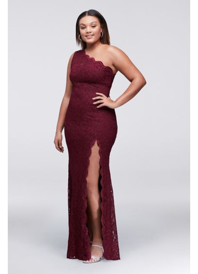 Glitter Lace One-Shoulder Plus Size Sheath Dress | David\'s Bridal