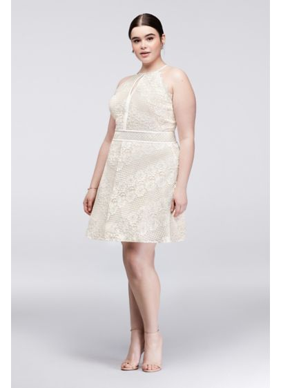 Chevron Lace Fit And Flare Plus Size Halter Dress Davids Bridal