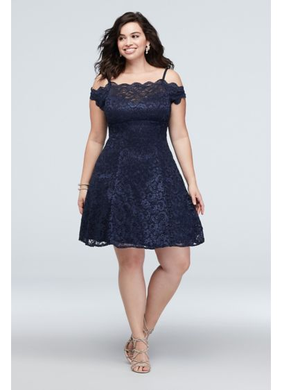 Scalloped Short Off-Shoulder Lace Plus Size Dress
