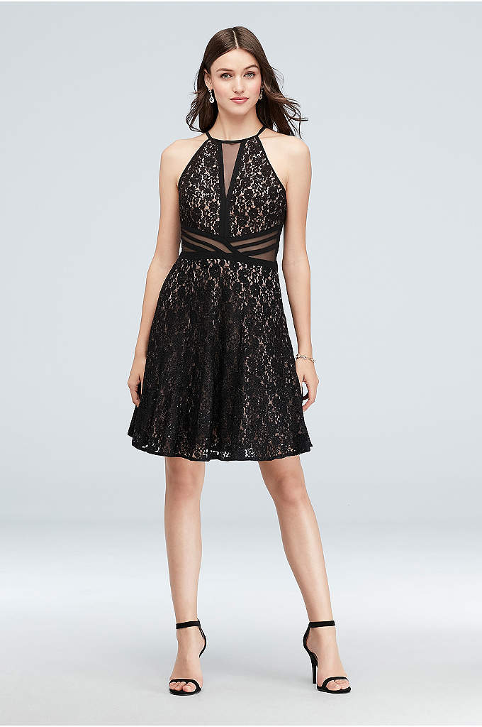 Illusion Fit-and-Flare Dress with Glitter Lace - This fit-and-flare glitter lace dress has fun details