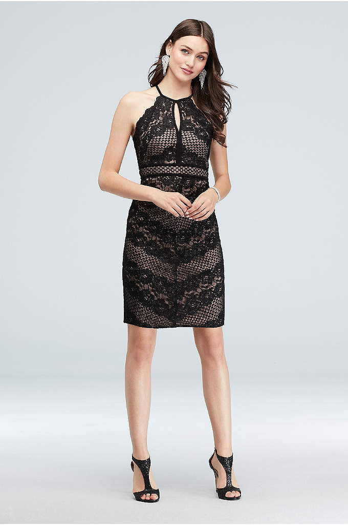 Chevron Lace Halter Sheath Short Dress - A chic look for any occasion, this short