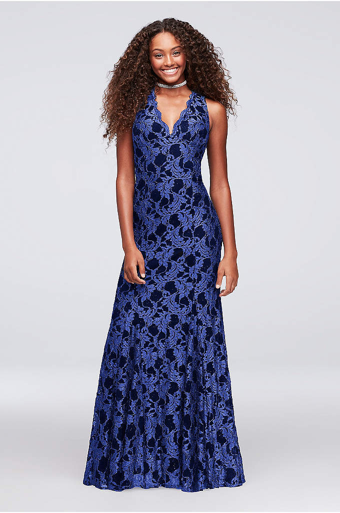Contrast Glitter Lace Open-Back Mermaid Gown - Glittering navy floral lace laid over a black