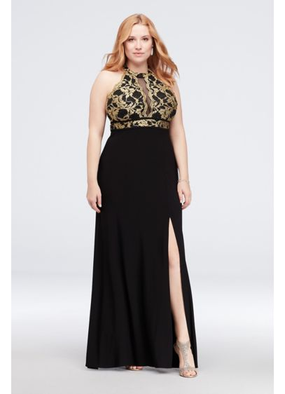 Scalloped Lace Halter Plus Size Dress with Cutout - This stunning glitter lace sheath is adorned with