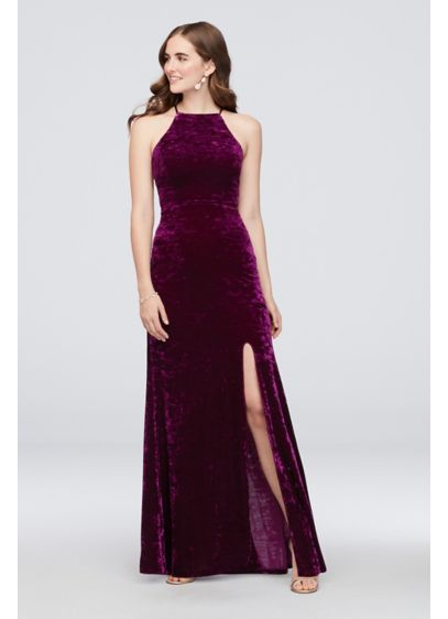 Crushed Velvet Lace-Up Halter Gown - Get ready to set trends and turn heads