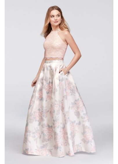 Long Ballgown Halter Cocktail and Party Dress - Morgan and Co