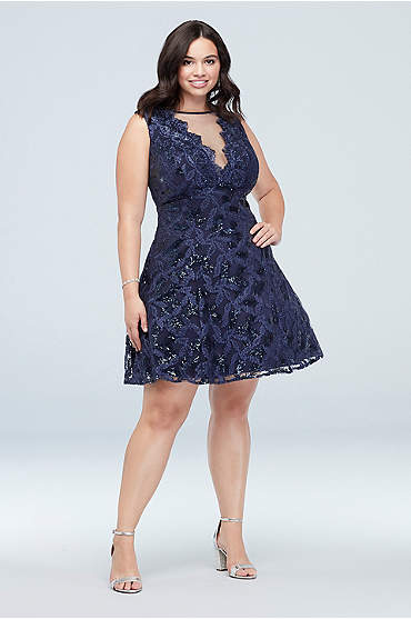 Embroidered Plus Size Dress with Illusion Neckline