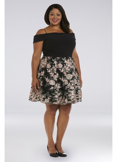 Short Embroidered Plus Size Off-the-Shoulder Dress - This short-and-sweet dress is full of eye-catching details