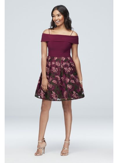 Cold-Shoulder Floral Embroidered Party Dress - An off-the-shoulder neckline and intricate floral embroidery give