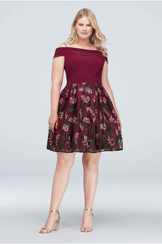Cold-Shoulder Floral Embroidered Plus Size Dress - An off-the-shoulder neckline and intricate floral embroidery give