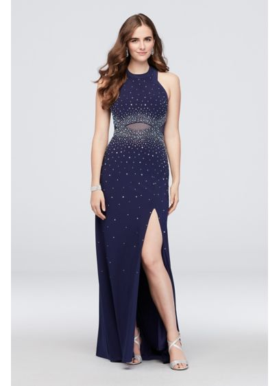 Clustered Crystal Sheath Dress with Illusion Back - Clusters of sparkling crystals adorn this slinky jersey