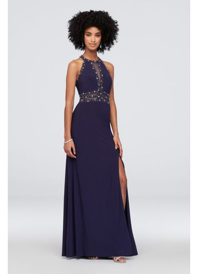 Long Sheath Halter Cocktail and Party Dress - Morgan and Co