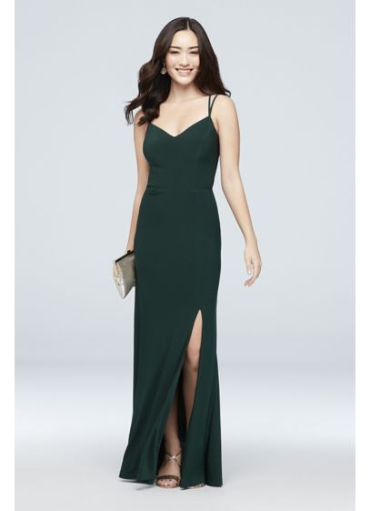 Long Sheath Spaghetti Strap Cocktail and Party Dress - Morgan and Co