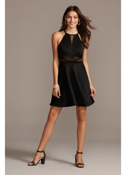High Neck Fit-and-Flare Dress with illusion Panels - An elegant high neck, accented with a plunging