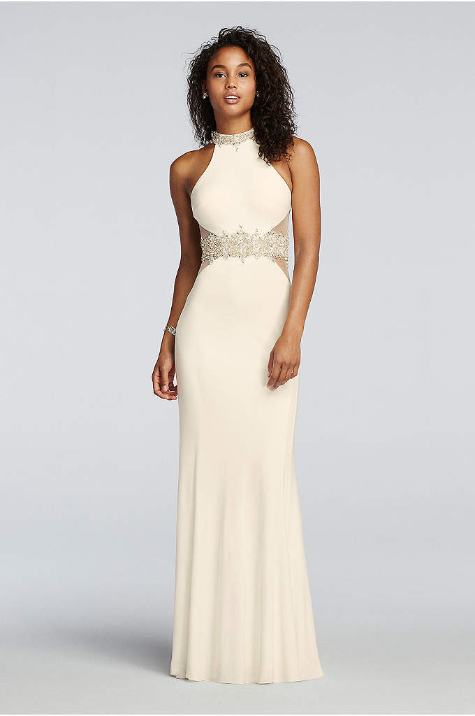 High Neck Halter Beaded Illusion Waist Prom Dress