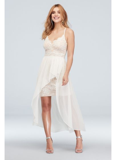 High Low Sheath Spaghetti Strap Bridal Shower Dress - Morgan and Co