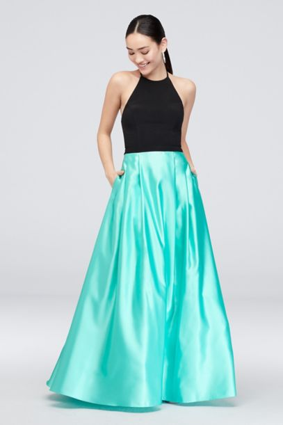 Satin Skirt And Halter Top Ball Gown With Pockets Davids Bridal