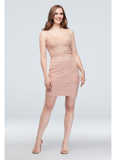 Scalloped V-Neck Stretch Lace Dress with Open Back - This cocktail dress pairs a pretty floral lace