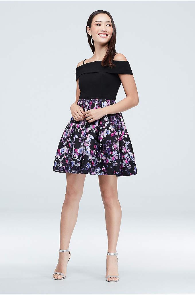 Foldover Off-the-Shoulder Floral Skirt Mini Dress