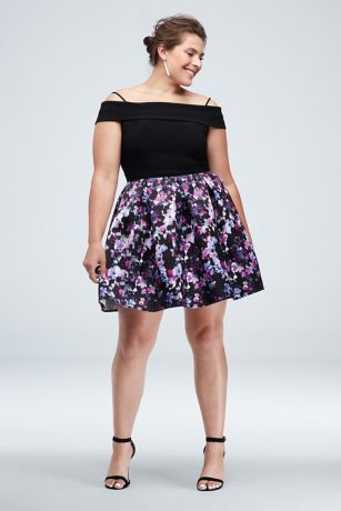 Foldover Off the Shoulder Floral Plus Size Dress | David\'s ...