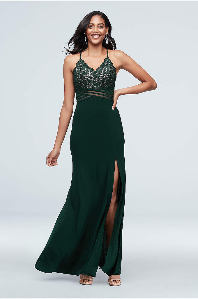 Scalloped Lace Dress with Banded Illusion Waist