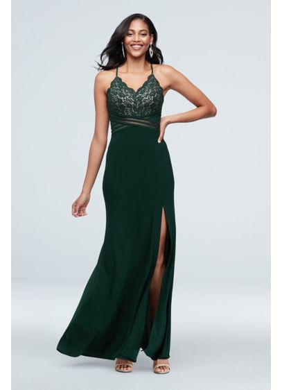 Scalloped Lace Dress with Banded Illusion Waist - Turn heads in this elegant gown. A lace