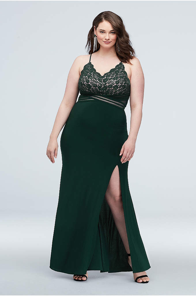 Scalloped Lace Plus Size Dress with Banded Waist