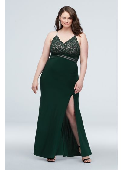 Scalloped Lace Plus Size Dress with Banded Waist - Turn heads in this elegant plus-size gown; a