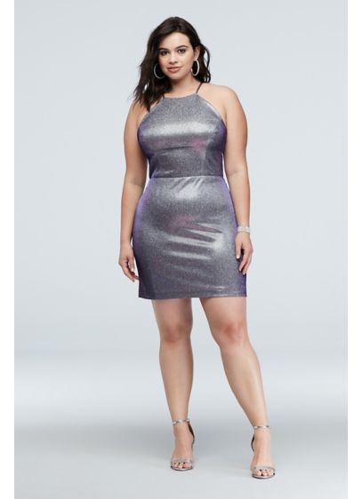 High-Neck Metallic Plus Size Dress with Cutout