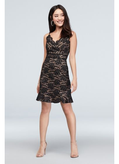 Scalloped Trim Glitter Lace Spaghetti Strap Dress - A scalloped neckline and a flounced hem add