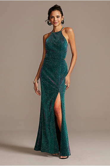 Glittery High Neck Mermaid Gown with Lace-Up Back