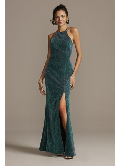 Glittery High Neck Mermaid Gown with Lace-Up Back - Radiant and rad, this glitter knit mermaid gown
