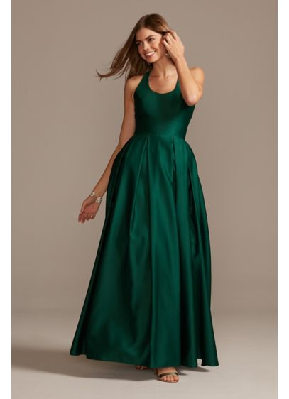 Satin Racerback Ball Gown with Cutout - Make an entrance in this pretty party look