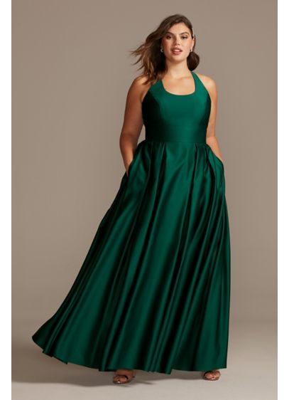 Satin Racerback Plus Size Ball Gown with Cutout - Make an entrance in this pretty, plus-size party