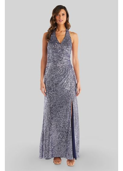 Halter Sequin Dress with Slit and Side Ruching - Sparkle and shine in this halter dress, detailed