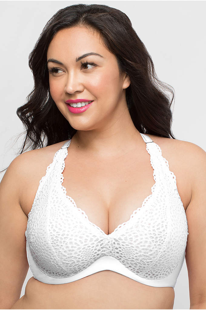 Curvy Couture Crochet Lace Halter Bralette - With its plunging V-neckline and cleavage-enhancing hidden underwire,