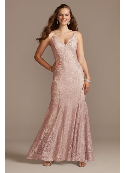 Glitter Lace Spaghetti Strap Godet Gown - This glitter lace sheath dress moves beautifully, thanks