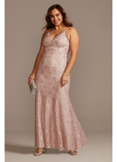 Glitter Lace Spaghetti Strap Plus Size Godet Gown - This glitter lace plus-size sheath dress moves beautifully,