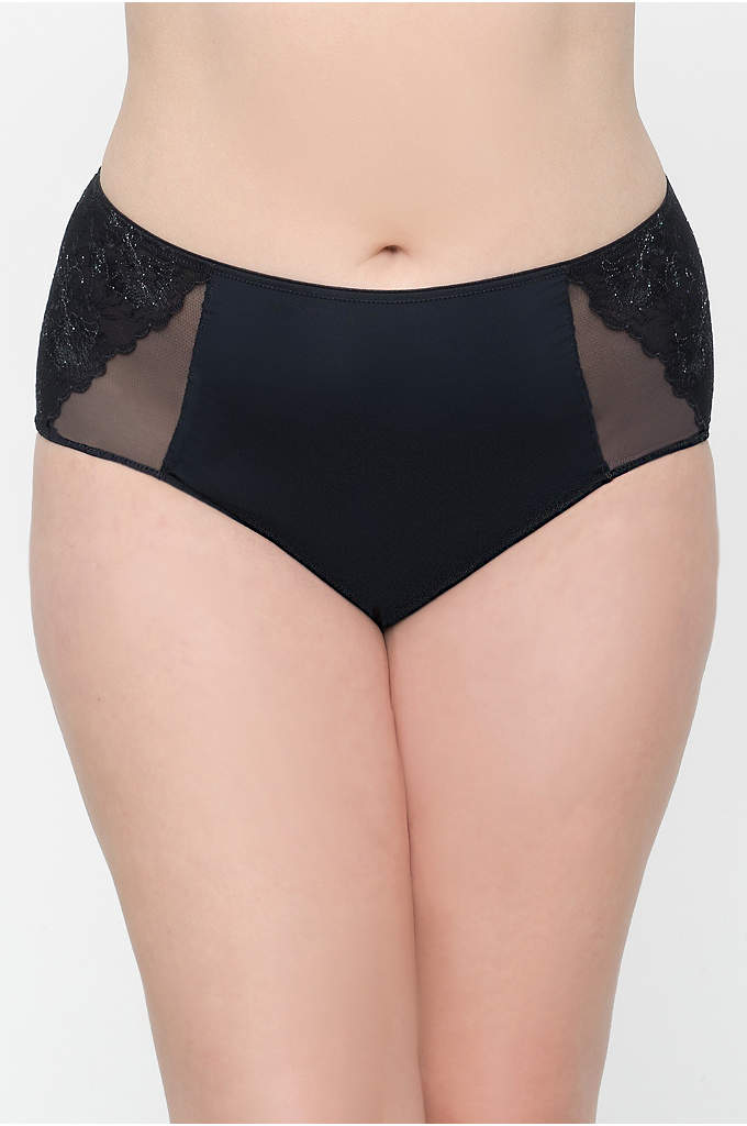 Curvy Couture Embroidered Panty - Topped with metallic embroidery, these high-waist panties feature